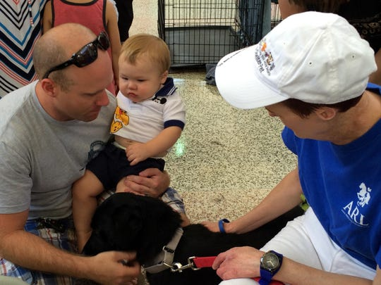 Dave Beveridge introduces a displaced dog to his son, Charlie Beveridge, during an ARL adoption event on Saturday, July 18.
