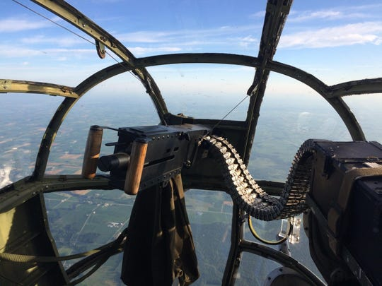 A view from the gunner's turret inside Panchito, a World War II-era B-25 bomber.