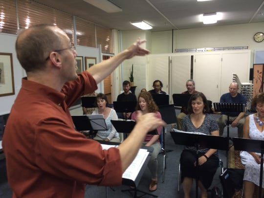 Nathaniel Lew, artistic director of Counterpoint, leads a rehearsal last week in Montpelier.