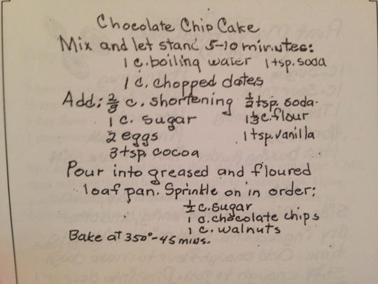The original recipe for Chocolate Chip Cake, likely written in Evelyn Luettich Horne's hand.