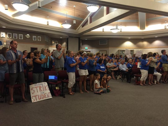 The DSUSD board room was packed Tuesday night with teachers upset about contract negotiations that have dragged on since October.