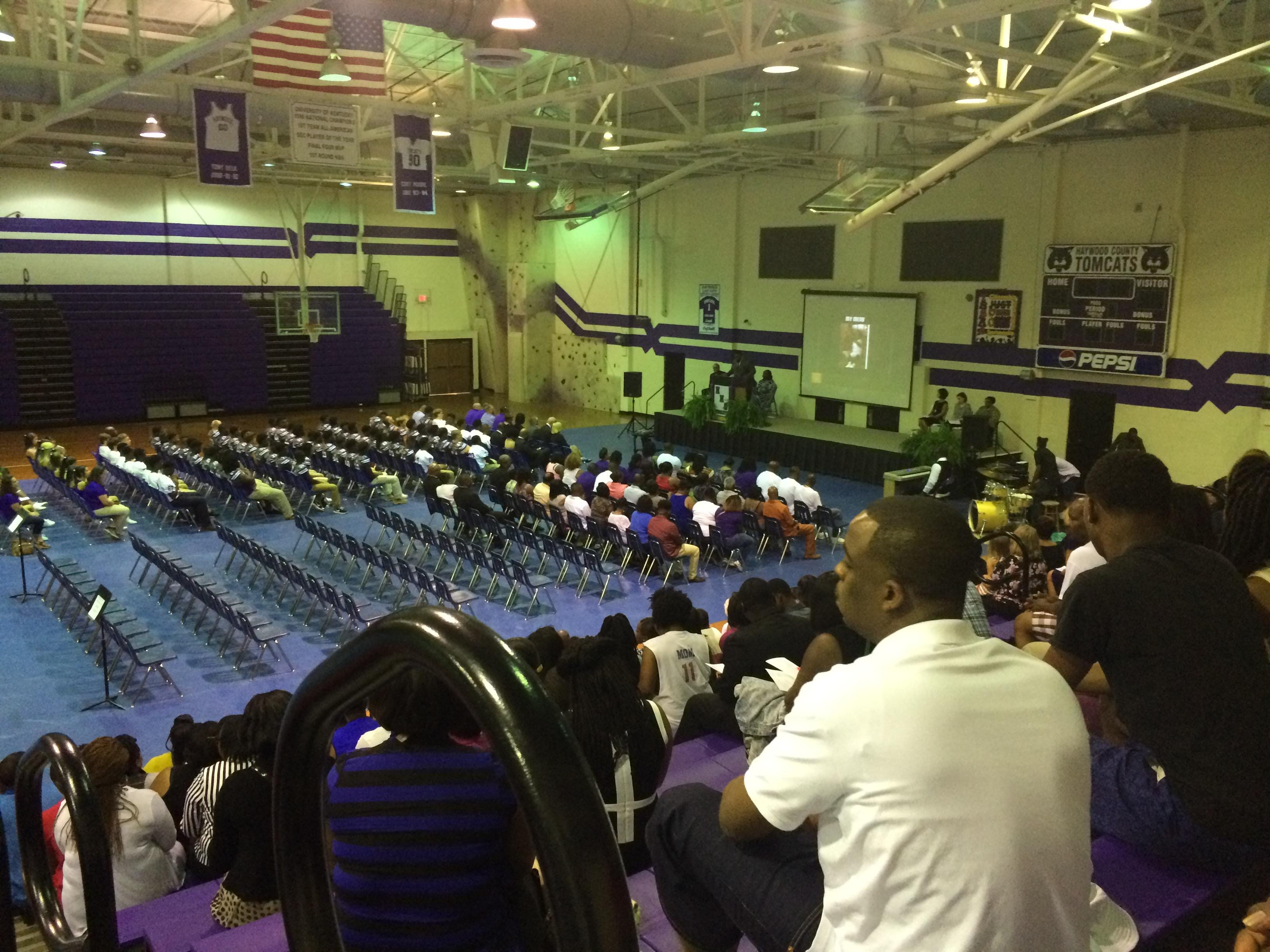 The home side of the Haywood High School gym was filled and people lined the back wall for Tekarian Maclin's memorial service Sunday evening.