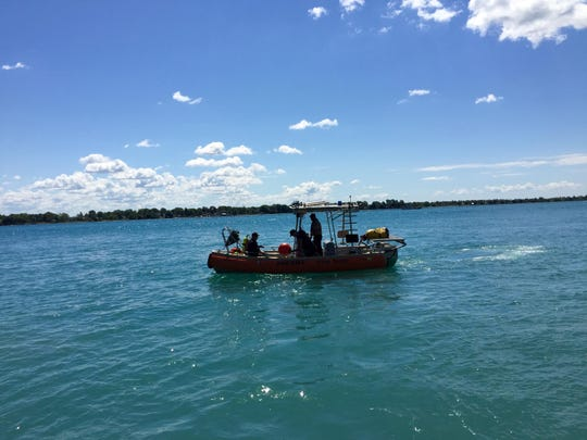 Members of the St. Clair County Sheriff Dive Team patrol the St. Clair River during the Marine City Maritime Days.