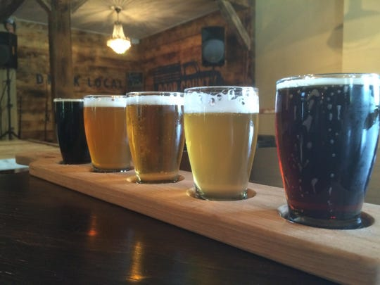 Flights of beer are available in the Door County Brewing tap room.