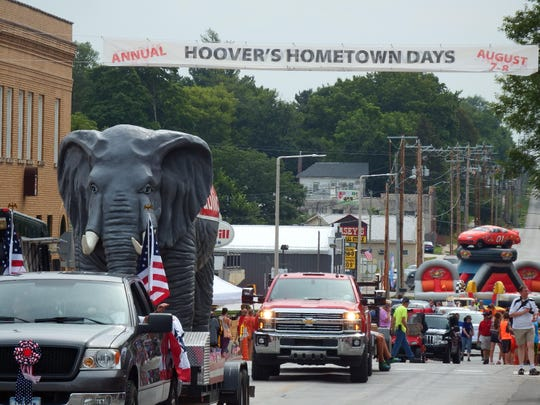 A giant elephant representing the political party of West Branch native President Herbert Hoover made its way down Main Street during the Mayor's Parade on the morning of Aug. 8 for the town's annual Hoover's Hometown Days festival.