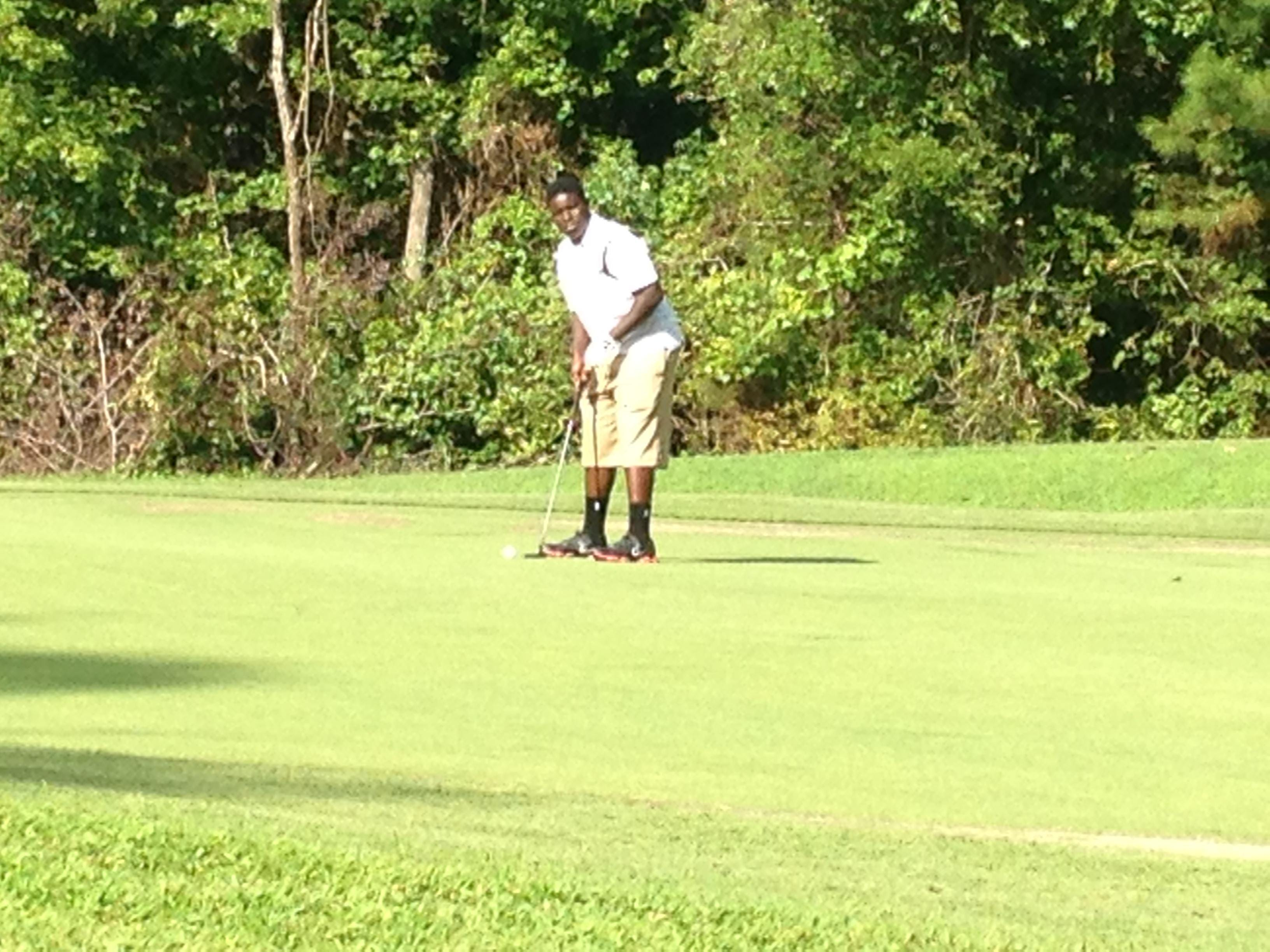 A South Side golfer prepares to putt on Hole No. 1 Tuesday at Chickasaw Golf Course.