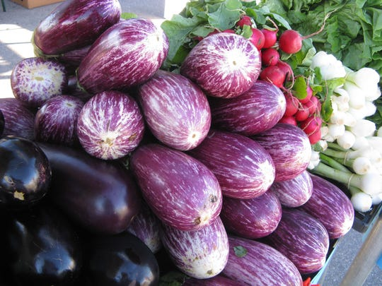Many varieties of eggplant can be found at farmers markets this time of year.