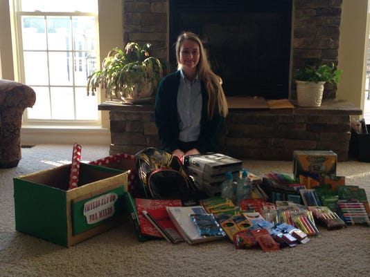 Nicole Krevetski, a senior at York Catholic, gathered school supplies for kids in need.