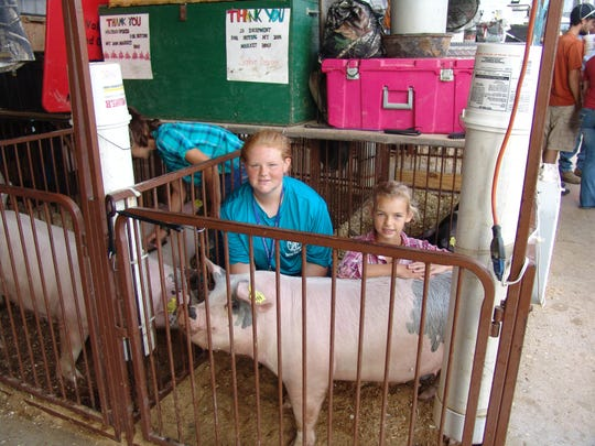 Sophie Devore, left, and her sister, Sylvie, prepare their hogs in the hog barn before the Junior Fair Market Hog Show.