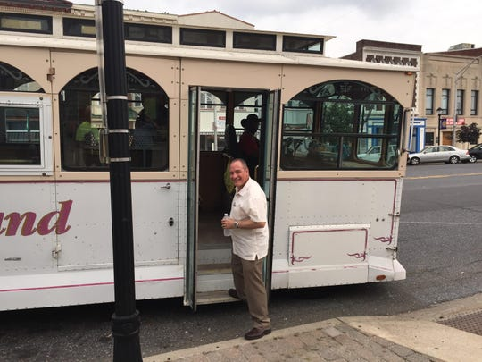 Mayor Ruben Bermudez embarks on a city trolley for a tour of the Vineland Downtown Improvement District. The idea was for city officials to spot problem areas.