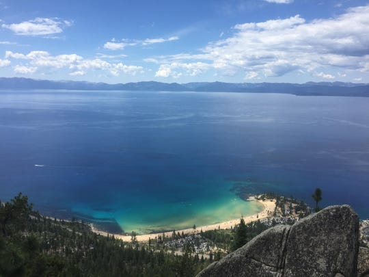 Sand Harbor at Lake Tahoe as seen from the Marlette Flume Trail in Washoe, Carson and Douglas counties, Nevada.