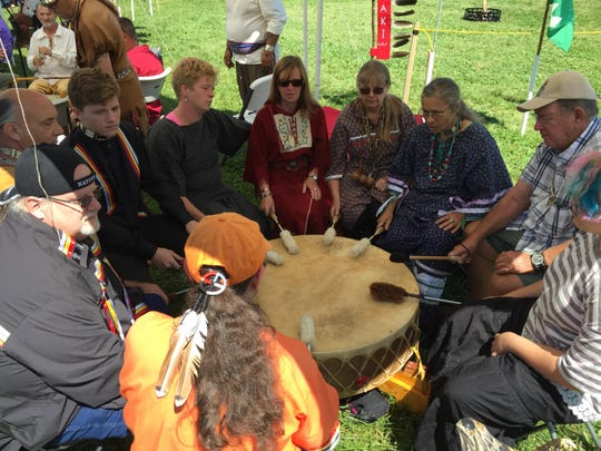 The First Light Drum and Singers perform in August 2015 at the Wabanaki Confederacy conference at Shelburne Farms.