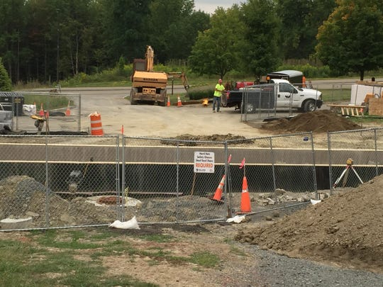 The link building to connect the library and science buildings is under construction on Corning Community College's Spencer Hill Campus.