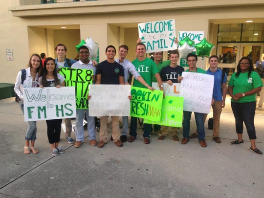 The Young Aspiring Leaders of Excellence Club acted as a welcoming committee for freshmen on the first day at Fort Myers High School.