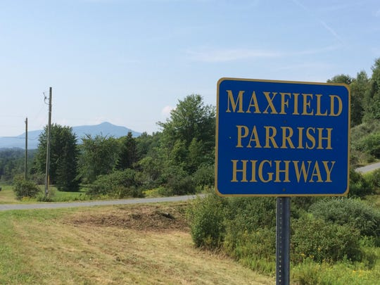 Route 12A in Plainfield, New Hampshire, also known as the Maxfield Parrish Highway, features a view of Mount Ascutney in Vermont.