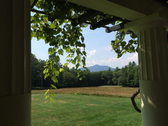 Mount Ascutney in Vermont is visible from the front porch of the Little Studio at St. Gaudens National Historic Site in Cornish, New Hampshire.