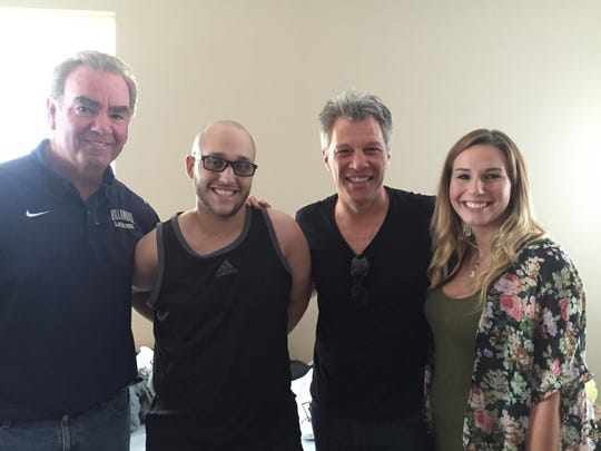 Jon Bon Jovi visited pediatric cancer patient Antonio Santos as arranged by the Frances Foundation. From left to right: Frances Foundation President Bob Heugle, Santos, Bon Jovi and Frances Foundation junior trustee Lauren Pericone.