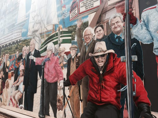 Bernie Sanders is among the Burlington mayors depicted in a mural on Leahy Way in downtown Burlington, created by Canadian muralist Pierre Hardy in 2012.