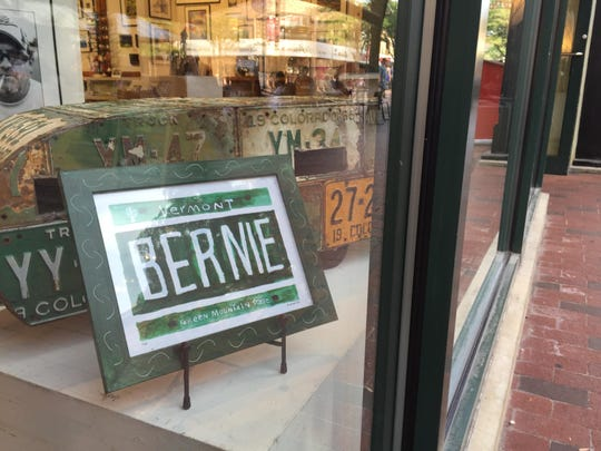 Bernie Sanders artwork by Dug Nap is displayed at Frog Hollow on Church Street on Thursday.