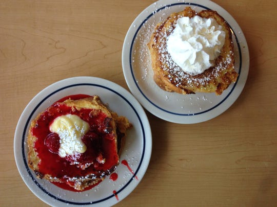 Lemon Strawberry French Toast, left, and Cinnamon Sugar French Toast, right, from IHOP.