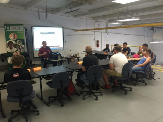 The class is held in the back of Hare Truck Center in Noblesville, about five minutes from Noblesville High School.