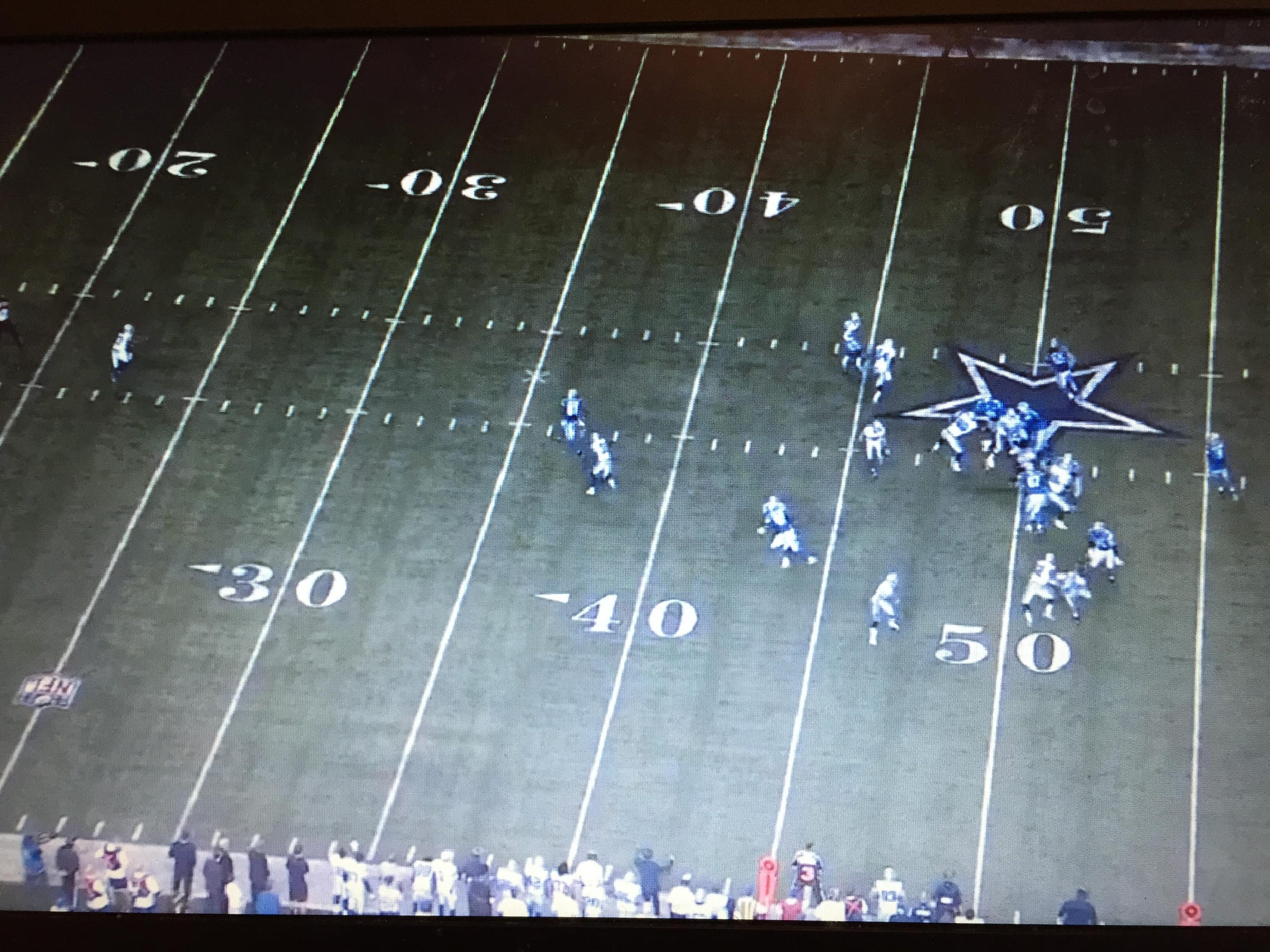 Screen grab of infamous play in Lions-Cowboys playoff