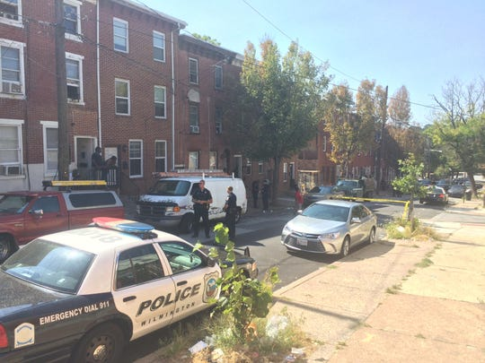 Police on the scene of a shooting in the 600 block of West 6th St. in Wilmington Monday afternoon.