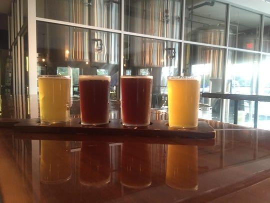 A flight of brews from Catawba Island Brewing Company