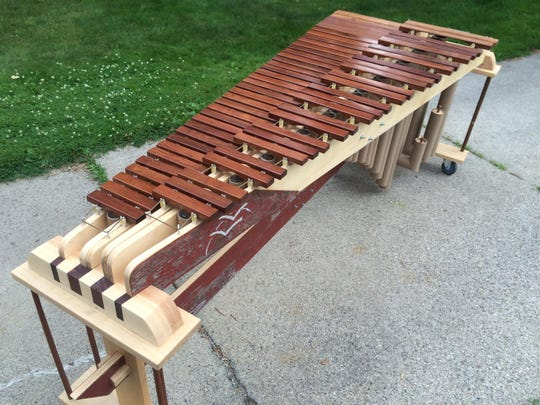 A marimba Alex Smith of Jim Nugent Instrument Works made from reclaimed wood.
