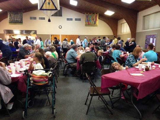 A potluck lunch follows Sunday's service at Malesus United Methodist Church.