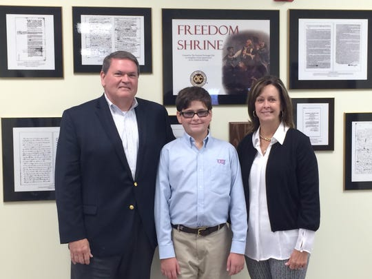 Mike and Janet Tankersley sponsored the Freedom Shrine at the University of School of Jackson in honor of their son Adam, 12.