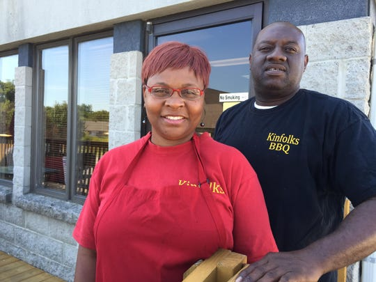 Husband-wife team Jerry and Scharneitha Britton own and operate Kinfolks BBQ in Smyrna.