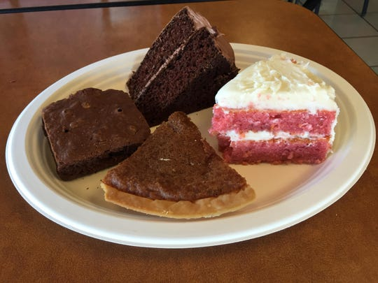 Daily made-from-scratch desserts include chocolate or strawberry cakes, chess pie, and brownies.