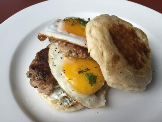 Chef Joseph Bell's Battleborn Breakfast Sandwich, his entry in the Thomas' Hometown Breakfast Battle, features Thomas' English muffins, local ground pork, fresh duck eggs and sage from his garden.