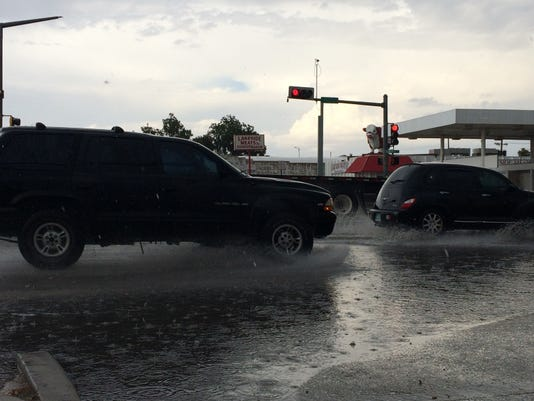 Roadways in Carlsbad showed some minor flooding Friday afternoon.