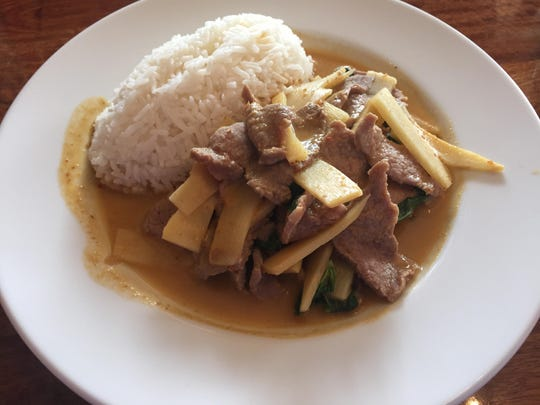 Panang neau is made with curry beef and coconut milk.
