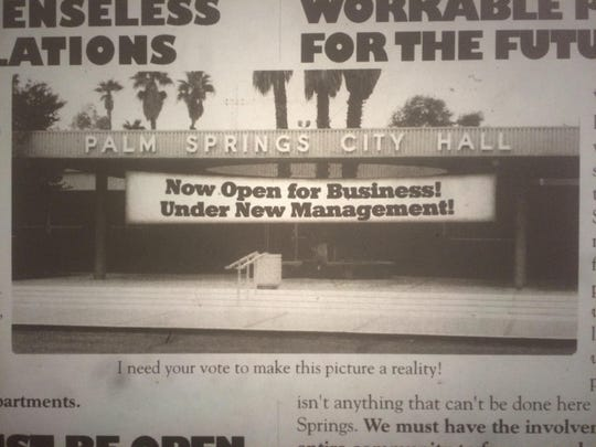 Then-Palm Springs council member Ron Oden and his campaign published this ad in The Desert Sun in 2003. He won the mayor's race days later.