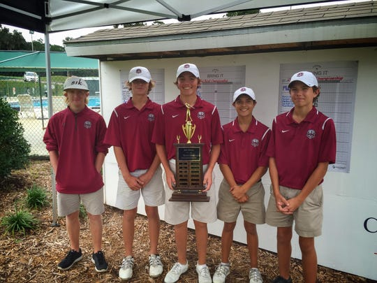 The Chiles golf team captured its fifth consecutive Big Bend Championship trophy on Wednesday at Capital City Country Club. Timberwolves junior Connor Futrell (middle) shot a 2-under par 70 to capture medalist honors. L-R: Bryce Johnson, Hayden Smith, Connor Futrell, Alex DeCardenas, Winston Ortiz