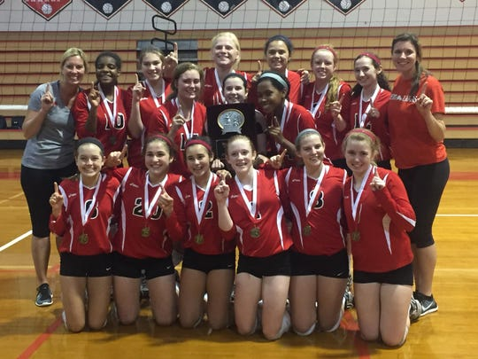 The Leon JV volleyball team won first place in the 12-team tournament it hosted.