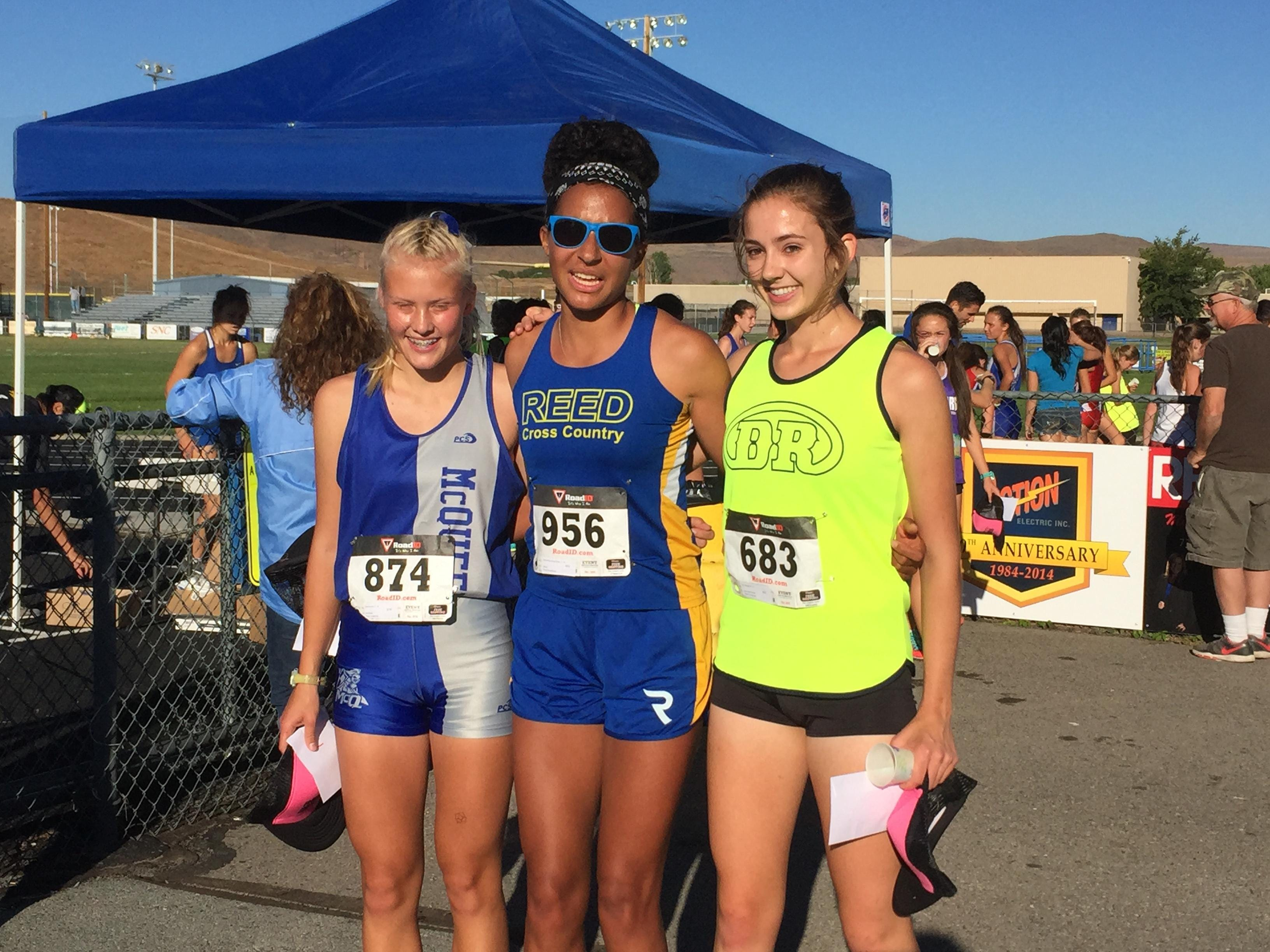 The top three girls finishers, from left: Sina Arnold, McQueen; Samantha King-Shaw, Reed; and Erin Moyer, Damonte Ranch.
