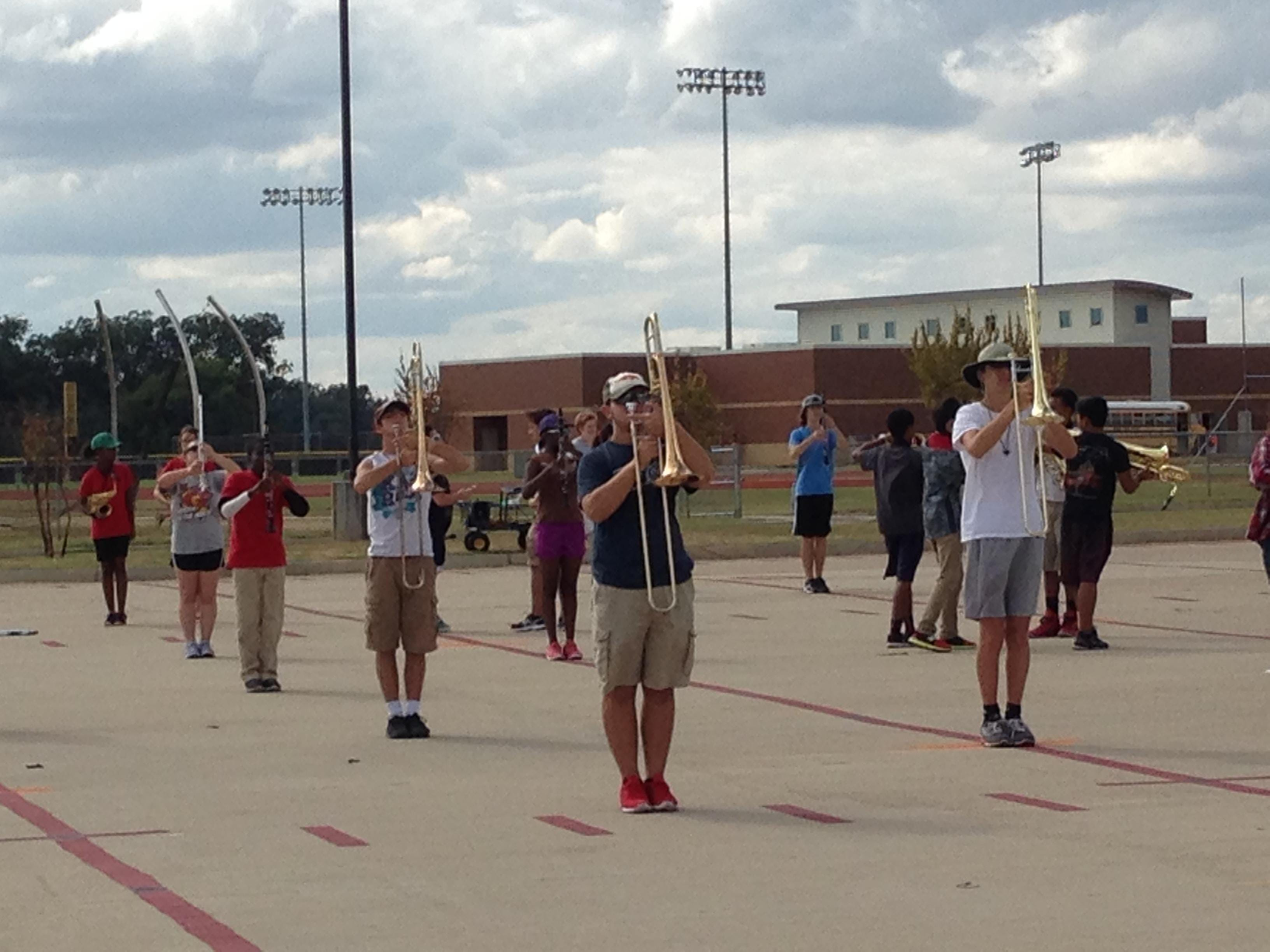 Parkway High School marching band rehearsal.