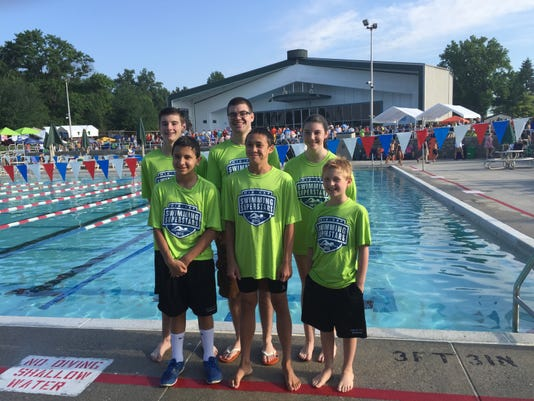 Five swimmers from the Hanover YMCA Stingrays competed at the Mid-Cap Swimming Championships on Saturday. From left to right: top row, Collin Ruby, coach Zack Miller and Shannon Ruby; bottom row, Alan Flores, Jon Clinton and Nick Croghan.