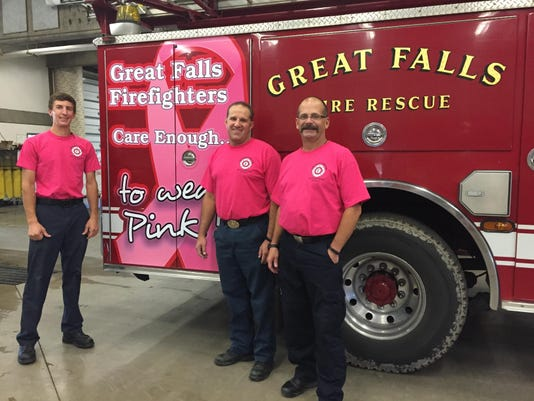 Great Falls Firefighters wear pink