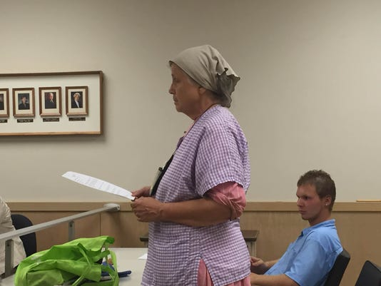 Abigail Jarboe of Lebanon tells Lebanon City Council that she opposes an ordinance it is considering which would require all city property owners to purchase Carbon Monoxide detectors.