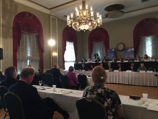 York County Chief Deputy Prosecutor Dave Sunday and Coroner Pam Gay testify on Tuesday during a public hearing about treatment for heroin and opioid addiction in York. The Center for Rural Pennsylvania, an agency of the Legislature, put on the hearing at the Yorktowne Hotel.