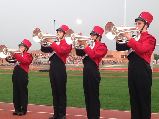 Band members play before Friday's game between Bermudian Springs and New Oxford.