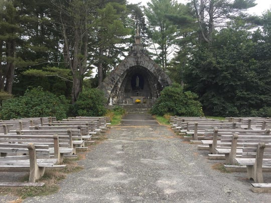 A grotto on the grounds of the Franciscan Guest House in Kennebunk, Maine.