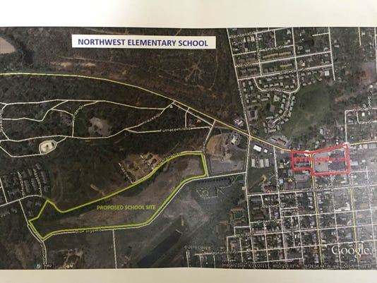 This map shows the 19-acre parcel in the Aspens Business Park that Lebanon School District plans to purchase for $500,000 to build a new Northwest Elementary School to replace the old one, outlined in red, at Ninth and Maple streets.