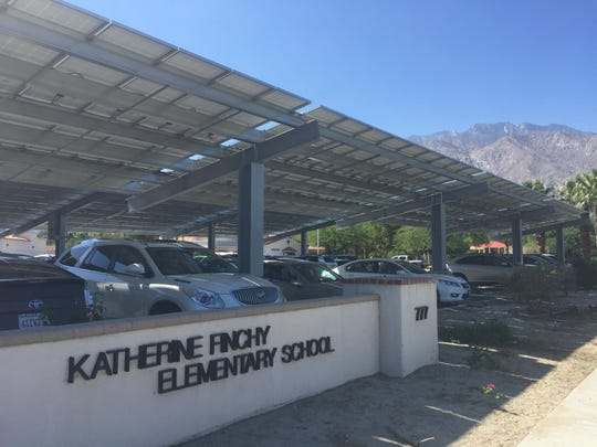 Solar panels were installed at Katherine Finchy Elementary School over the summer. Katherine Finchy is the 14th school in Palm Springs Unified School District to get solar panels.