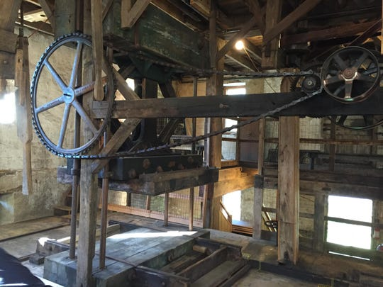 This historic cider mill at Ralston Cider Mill in Mendham uses hydraulics, pulleys and belts.